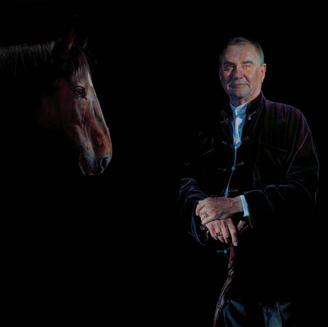 Prince Henrik and horse 2004 150 x 150 cm - Thomas Kluge